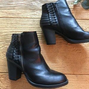 Sugar Faux Leather Black Booties with Strap Detail